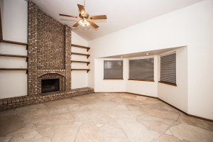 Living room bay window and Fireplace