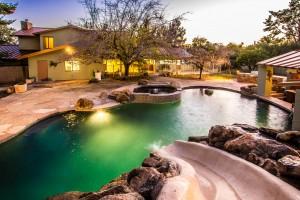 Pool slide sunset